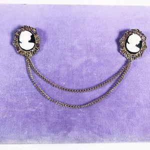 Black cameo victorian sweater clip brooches